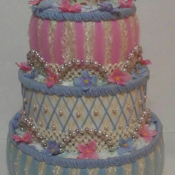 Vintage Alice In Wonderland Chic Baby Girl Shower Decorations , 3 Tier Elegant Tea Party Diaper Cake , Alice In Wonderland Centerpiece Gift