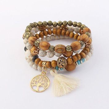 ICIKG5T Hollow tree bangle retro wood beads multi-layer stretch bracelet