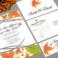 Autumn Leaves | Modern Wedding Invitation Suite by RunkPock Designs | Fall Wedding Leaf Script Calligraphy design | shown in brown, orange and green