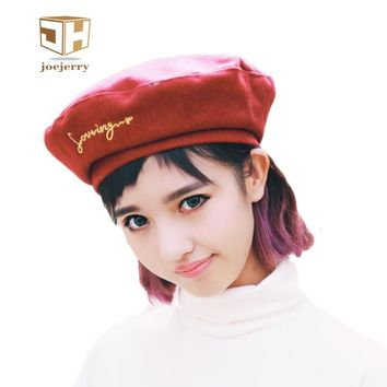 joejerry Fashion Winter Wool Felt Beret Hat Newsboy Hats for Women Girls Artist Boina Embroidery Cap 2017 New
