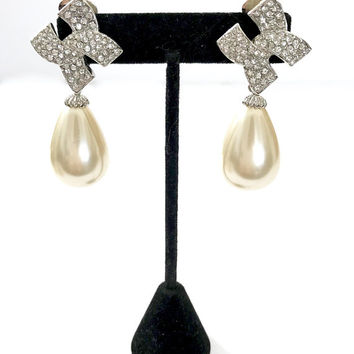 Kenneth Jay Lane Pearl Drop Earrings, Huge Teardrop Faux Pearl Dangle, Clear Rhinestones,  Clip-ons, Signed, Wedding Jewelry, Gift for Her