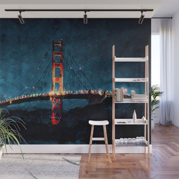Digital Painting - San Francisco Bridge Wall Mural by tmarchev