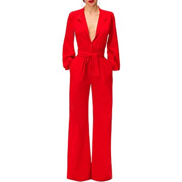 Elegant Red Lantern Sleeve Belted Wide Leg Jumpsuit