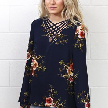Boho Bells + Floral Strappy Blouse {Navy Mix} EXTENDED SIZES