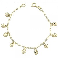 Gold Layered 03.09.0034.07 Charm Bracelet, Heart Design, Polished Finish, Golden Tone