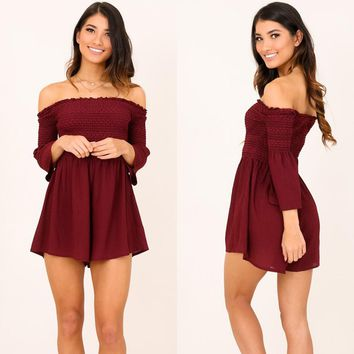 Red Off Shoulder High Waist Rompers