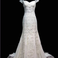Custom make Vintage New off shoulder white/ivory wedding dress size 4 6-8-10-16-18-20-22-24