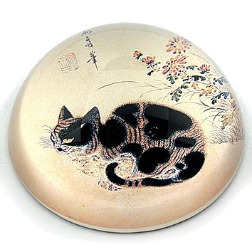 Black and Tabby Cat Korean Drawing Glass Dome Paperweight by Sang-Byeok 3W