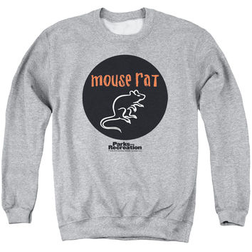 PARKS & REC/MOUSE RAT CIRCLE - ADULT CREWNECK SWEATSHIRT - ATHLETIC HEATHER -