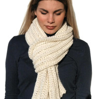 Cream  scarf - unisex scarf - Women Crochet Long Scarf - Winter Accessories - Chunky scarf