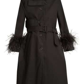 Feather-trimmed resin-coated cotton coat | Prada | MATCHESFASHION.COM US