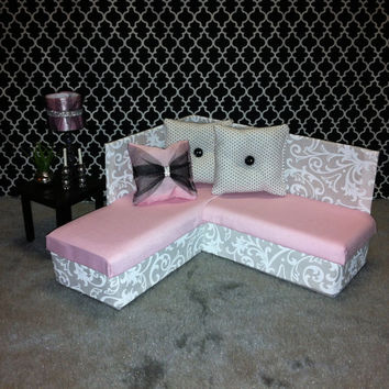 Playscale Furniture for Barbie, Fashion Royalty, Blythe, Monster High - Sectional Sofa White & Pink - Get 20% Off