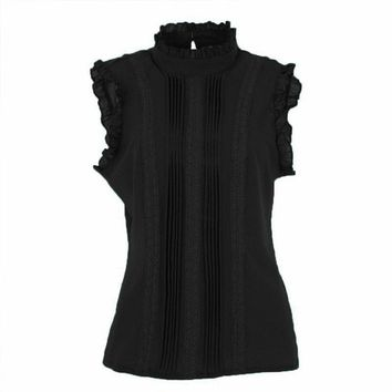 Black Sleeveless Ruffle Top - In The Style Of Madison - 5 Colors