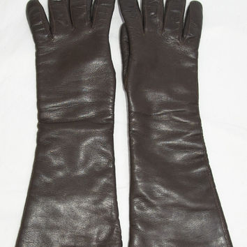 "Vintage 15"" Long Gloves in Brown Size 7 1/2"
