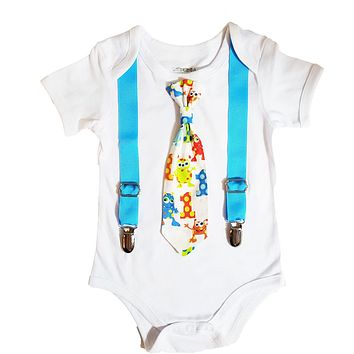Little Mini Monster First Birthday Outfits Boy Tie