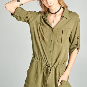 Button Down Romper with Drawstring