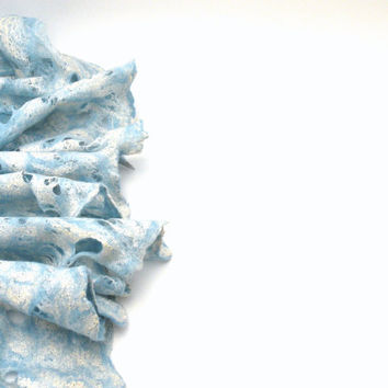 Cobweb wet felted merino wool and silk sky blue white scarf - felted scarf - weddings accsessorie - spring summer autumn fashion