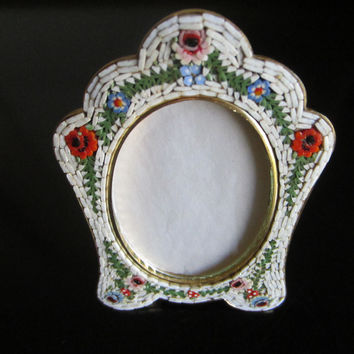 Italian Micro Mosaic Picture Frame Brass Self Stand Marked Italy