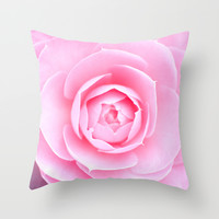 Pink Rose Throw Pillow by Photographicleigh