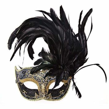 Colorful Feather Half Face Mask Women Masquerade Party