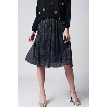 ICIK8BW SILVER METALLIC PLEATED MIDI SKIRT