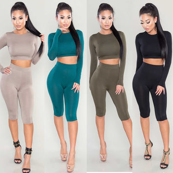 Scoop Crop Top Knee-length Pant Pure Color Two Pieces Set