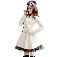 Urparcel Women's Slim Peacoat Long Dress Double Breasted Trench Coat White