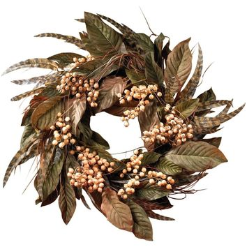 Woodland Feather and Berry Holiday Wreath