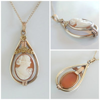 Vintage Gold Cameo Necklace -  Antique Cameo Teardrop Pendant - Hand Carved Shell Cameo Necklace - Miniature Silhouette Jewelry - 18 to 19in