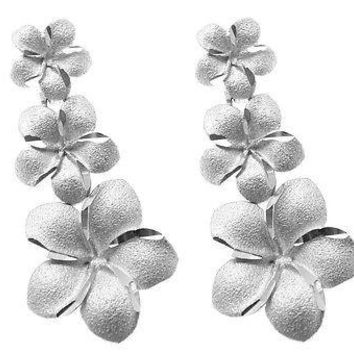 14K SOLID WHITE GOLD SMALL TO LARGE HAWAIIAN PLUMERIA FLOWER EARRINGS POST STUD