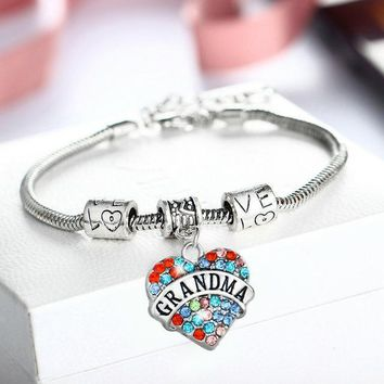 """Accessories""Love Heart Multi color Crystal  Grandma Bracelet Charm"