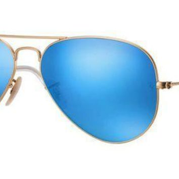 MDIGU3S Ray Ban Aviator Sunglasses Matte Gold with Flash Mirror Lenses RB3025