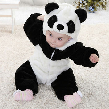 Newborn Baby Boys Girls Clothing Rompers  Cute Baby Girl Boy Panda Rompers Winter Soft Warm Jumpsuit Playsuit Kids Gifts