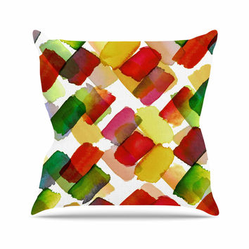 "Ebi Emporium ""Strokes Of Genius 4, Red Green "" Gold White Throw Pillow"