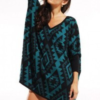 Oversized Tribal Dolman Sleeve Sweater in Teal