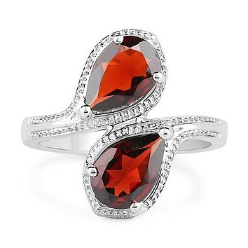 5.20TCW Pear Cut Naturally Mined Red Garnet Bypass Ring