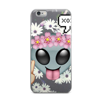 Flower Crown Alien Tongue Out Peace Emoji XOXO Daisy Flowers Teen Girls Girly Cute iPhone 4 4s 5 5s 5C 6 6s 6 Plus 6s Plus 7 & 7 Plus Case