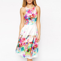 Colorful Cutout Floral Sleeveless A-Line Pleated Midi Dress