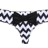 Acefast INC Women's Sexy Candy Color Bow Bikini Swimwear Bathing Suit Bottom (S (US XXS), Chevron Black Bow)