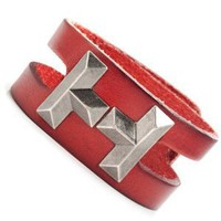 Vintage Tetris Style Mens Leather Bracelet Cuff (Red): Jewelry: Amazon.com