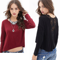 Cutout Crochet Lace Back Long Sleeves High Low Top