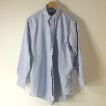 Vtg Lands End Hyde Park Button-Down Oxford Blue Shirt Made in USA - SZ M / L