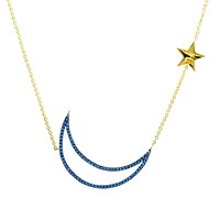 Khalin Turquoise Moon and Star Gold Necklace