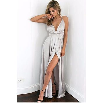 Satin Elegant Backless Evening Party Maxi Dress