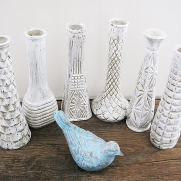 Shabby Chic White Vase Set of 6 Rustic Home Wedding Decor