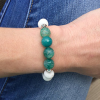 Aqua Agate and Howlite Beaded Bracelet With Stainless Steel/Aqua and Gray/Teal/White/Green/Turquoise