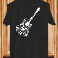 guitar tribal TShirt Tee Shirts Black and White For Men and Women Unisex Size