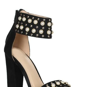 Suede Ankle Strap with Pearls Black Heels