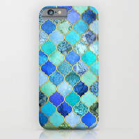 Cobalt Blue, Aqua & Gold Decorative Moroccan Tile Pattern iPhone & iPod Case by Micklyn