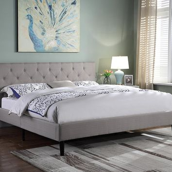 "New Century® Dark Gray Linen Upholstered 35"" Headboard Platform Bed"
